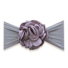 Baby Bling Bows Silk Ruffle Flower Headband: Grey