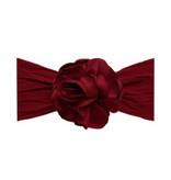 Baby Bling Bows Silk Ruffle Flower Headband: Ruby
