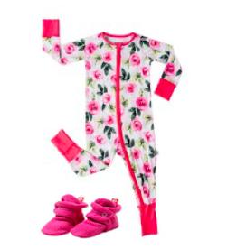 Little Sleepies Convertible Romper/Sleeper Roses + Fuchsia Bootie Set