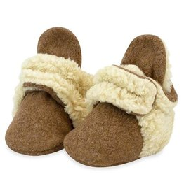 Zutano Cozie Furry Baby Bootie - Heather Mocha