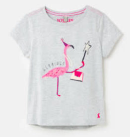 Joules Astra - Gray Flamingo Tee 6Y