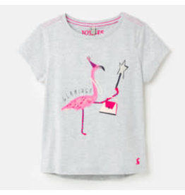 Joules Astra - Gray Flamingo Tee 6Y