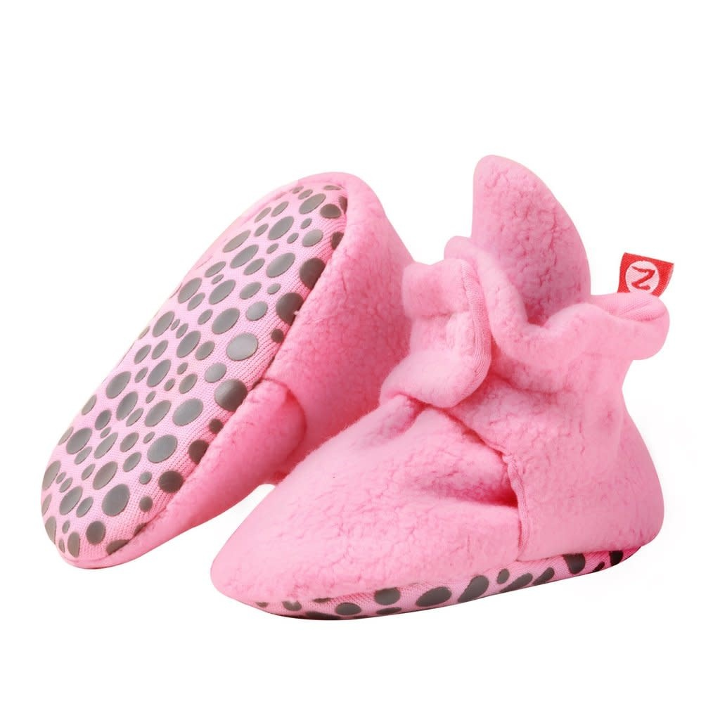 Zutano Cozie Fleece Gripper Bootie -  Hot Pink