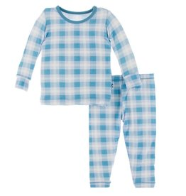 Kickee Pants Print Long Sleeve Pajama Set Blue Moon 2020 Holiday Plaid
