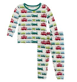 Kickee Pants Print Long Sleeve Pajama Set Natural Toy Train