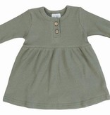 Mebie Baby Green Long Sleeve Button Ribbed Organic Cotton Dress