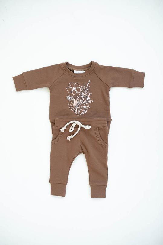 Mebie Baby Camel Floral French Terry Set