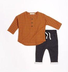 Petit Lem Autumn Brown Woven Flannel Pant Set