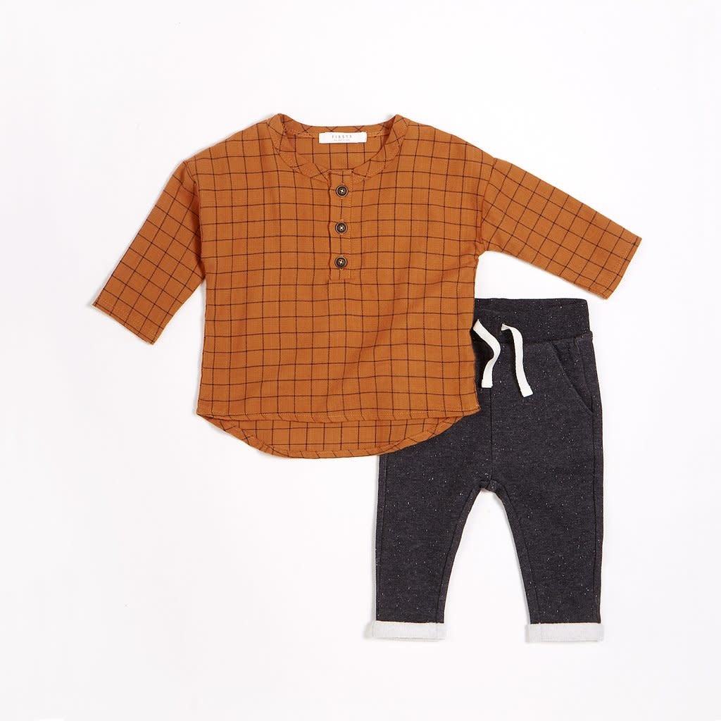 Miles Baby Autumn Brown Woven Flannel Pant Set