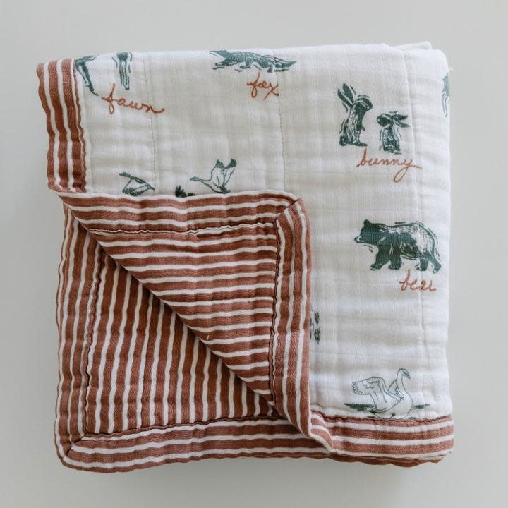 Saranoni By Hope Lakewood Animals Bamboo Rayon Muslin 4-Layer Quilt