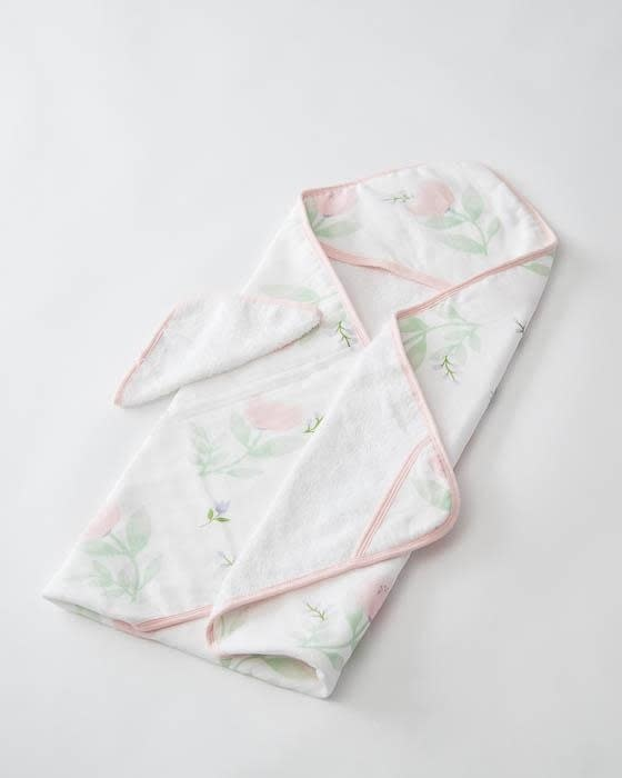 Little Unicorn Cotton Hooded Towel Set, Pink Peony