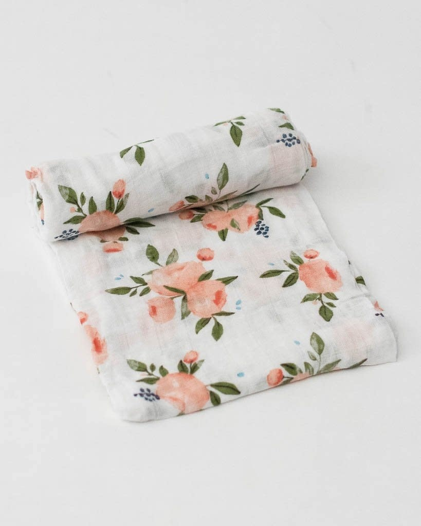 Little Unicorn Cotton Muslin Swaddle - Watercolor Rose