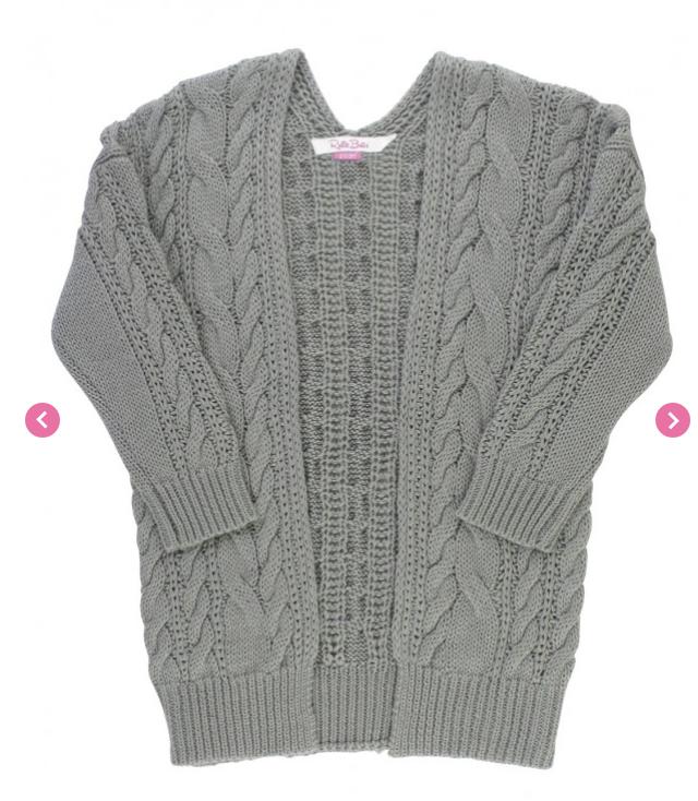RuffleButts Gray Chunky Knit Open Style Cardigan