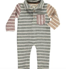 Me + Henry Green Multi Stripe Polo Romper, Baby 12-18M