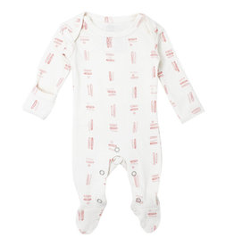Loved Baby Organic Lap-Shoulder Footie - Mauve Tribe 0-3M