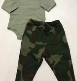 Green Micro Stripe + Cool Camo Pant Set