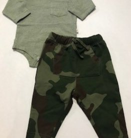 Green Micro Stripe + Cool Camo Pant Set