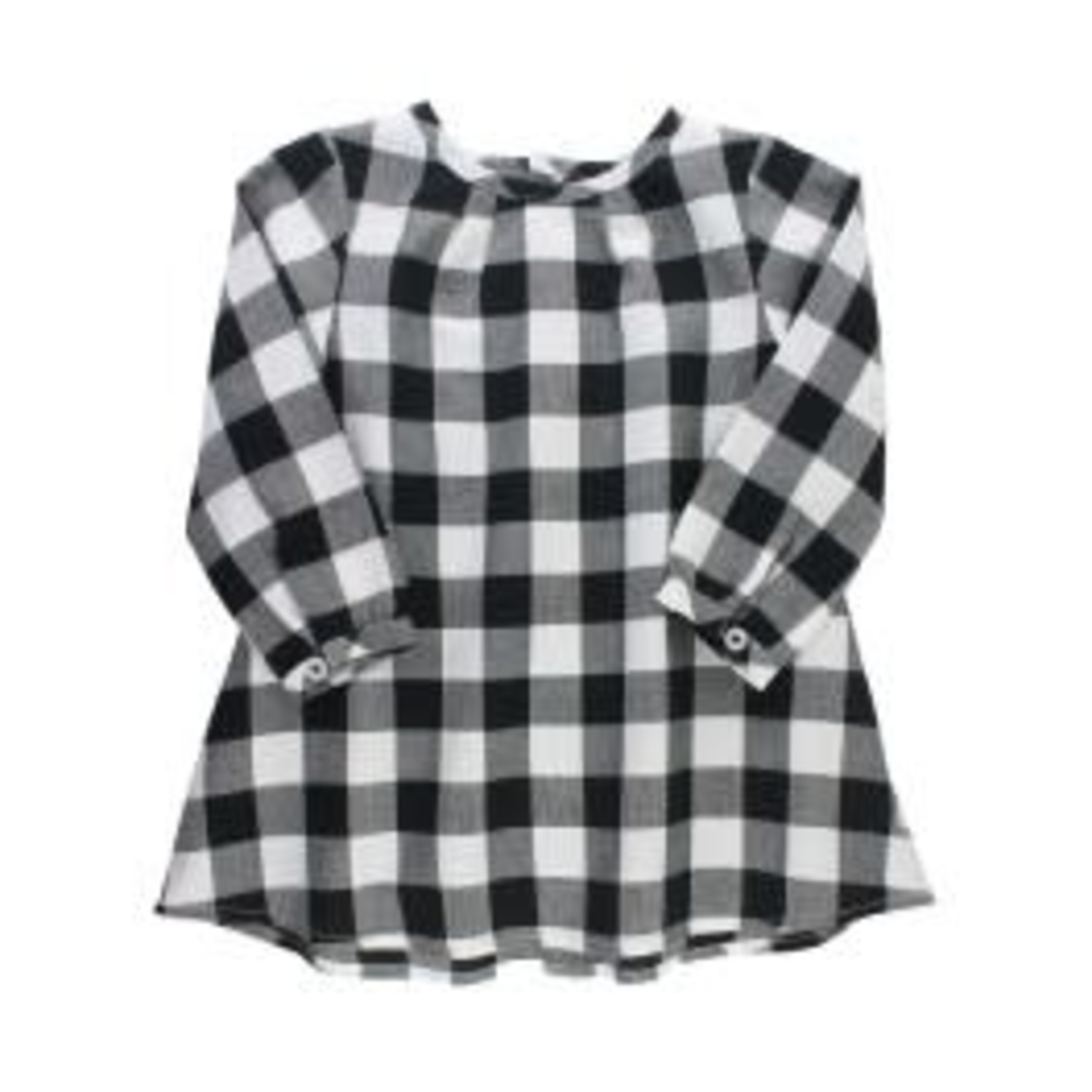 RuffleButts Button Back Dress - Black & White Plaid