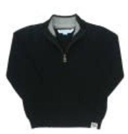 RuffleButts Quarter Zip Sweater - Black