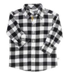 Button Down Shirt - Black & White Plaid