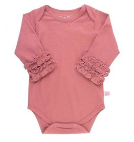 RuffleButts Ruffled Long Sleeve Layering Bodysuit Mauve