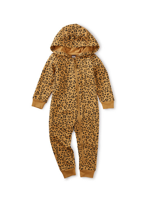 Tea Collection French Terry Hooded Zip Romper - Jungle Jaguar