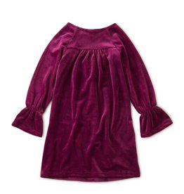 Tea Collection Velour Bell Sleeve Dress - Earth Red