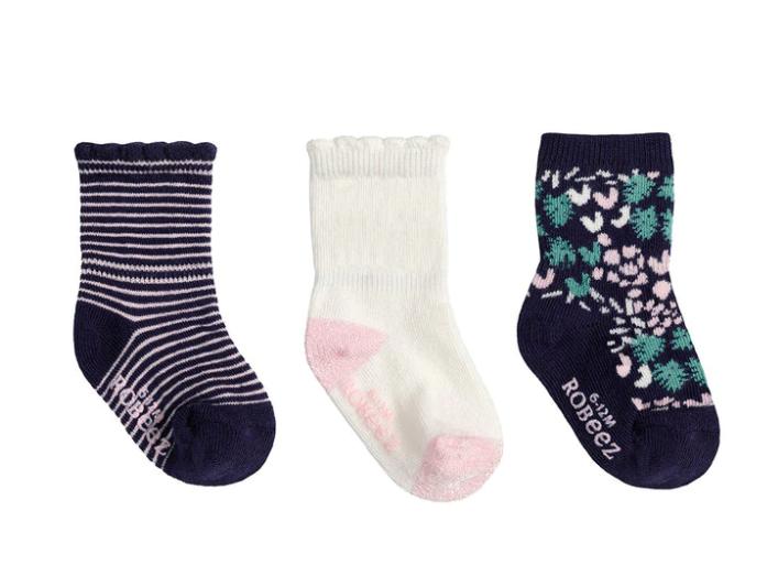 Robeez 3 Pk Socks, Girl Zinnia Navy