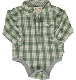 Me + Henry Green/Cream Plaid Woven Onesie