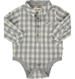 Me + Henry Grey/White Plaid Woven Onesie