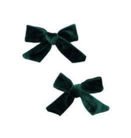 Baby Bling Bows 2PK Velvet Bow Clip - Forest Green