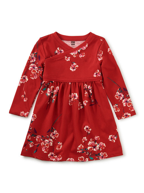 Tea Collection Floral Wrap Neck Baby Dress - Ruby