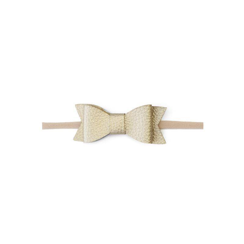 Baby Bling Bows Leather Bow Tie Skinny - Metallic Gold