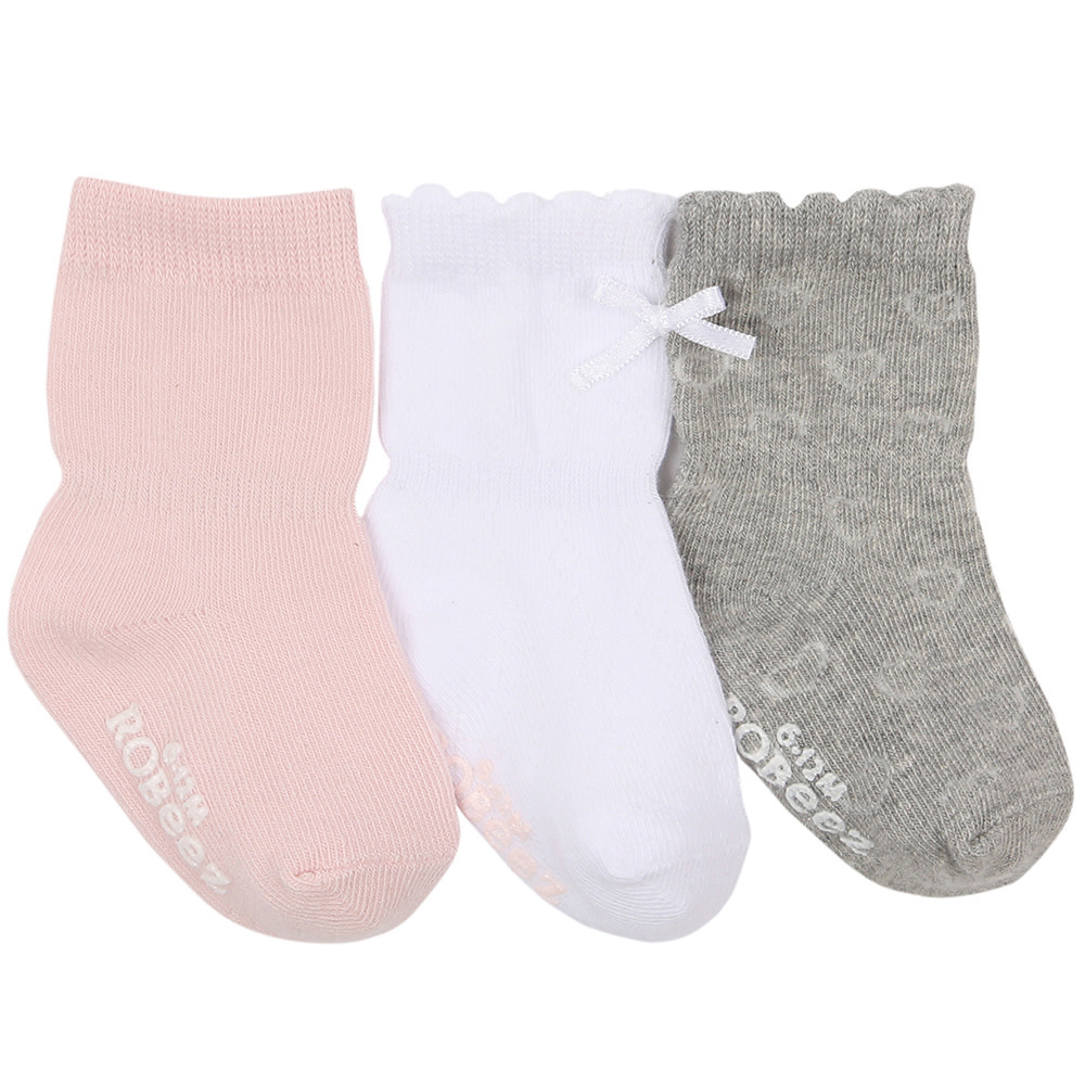Robeez 3 Pk Socks, Girly Girl Basics Pink/Grey/WH