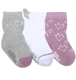 Robeez 3 Pk Socks, Girl Dream Among the Stars Grey/Lavendar