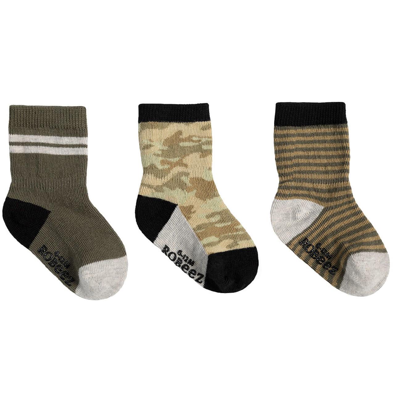 Robeez 3 Pk Socks, Jude Camo