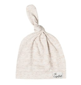 Copper Pearl Top Knot Hat, Oat 5-18M