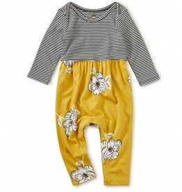 Tea Collection Two-Tone Romper - Blooming Flora Blanca