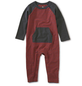 Tea Collection Striped Kanga Pocket Romper - Apple Red