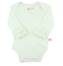 RuffleButts Ruffled Long Sleeve Layering Bodysuit Ivory