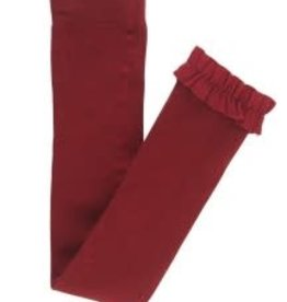 RuffleButts Footless Ruffle Tights, Cranberry