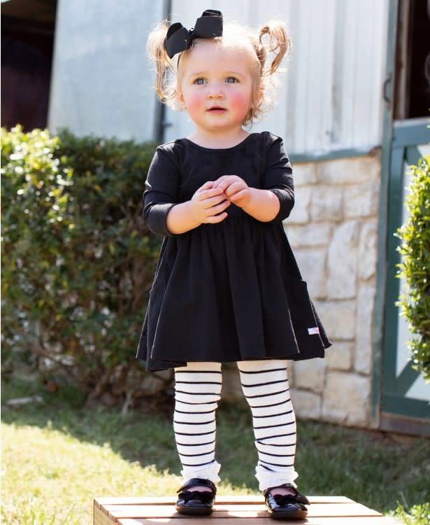 RuffleButts Footless Ruffle Tights, Black White Stripe