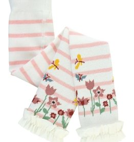 RuffleButts Footless Ruffle Tights, Pink Ivory Stripe Floral