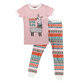 Lazy One Kids 2pc PJ Set - Llama short sleeve