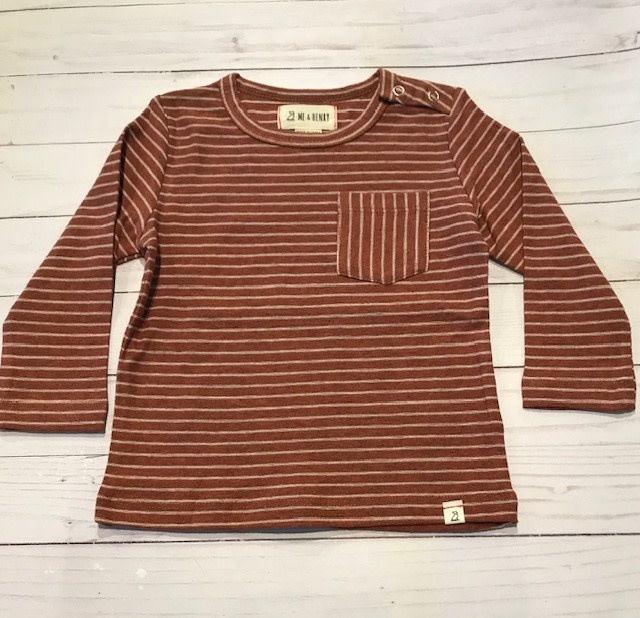Me + Henry Rust Stripe LS Top 12-18M