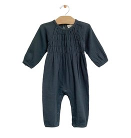 City Mouse Smocked Romper Storm Cloud