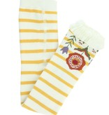 RuffleButts Footless Ruffle Tights, Golden Yellow & Ivory Stripe
