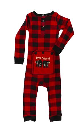 Lazy One Bear Cheeks Infant Flapjack - Red Plaid