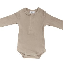Mebie Baby Vanilla Organic Cotton Snap Long Sleeve Ribbed Bodysuit