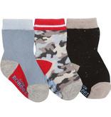 Robeez 3 Pk Socks, Boy Camo Grey/BL/Red